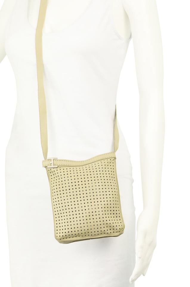 22dd40a85269 Hermès Small Perforated Beige Leather Cross Body Bag