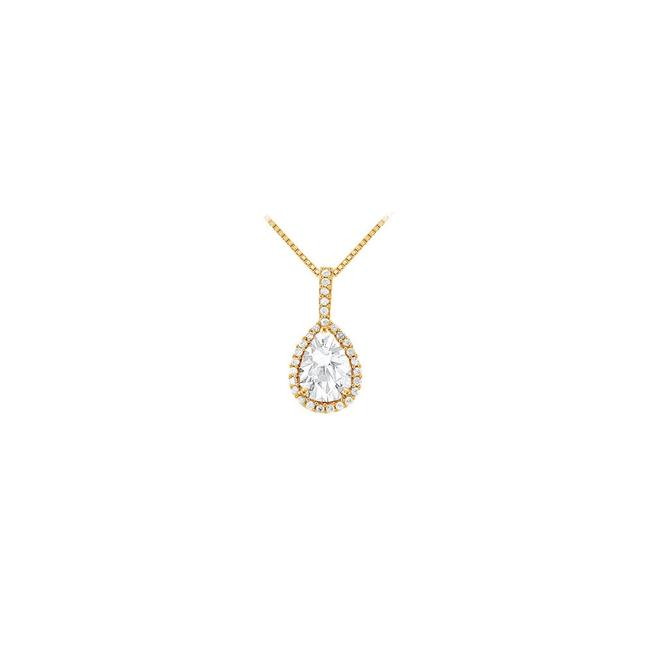 White Yellow Gold Fancy Teardrop Cubic Zirconia Halo Pendant In 14k 1.50 Ct Necklace White Yellow Gold Fancy Teardrop Cubic Zirconia Halo Pendant In 14k 1.50 Ct Necklace Image 1