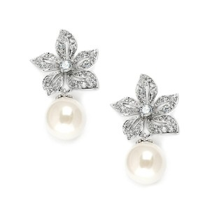 Mariell Silver Intage Floral Pearl Drop 3640e Earrings