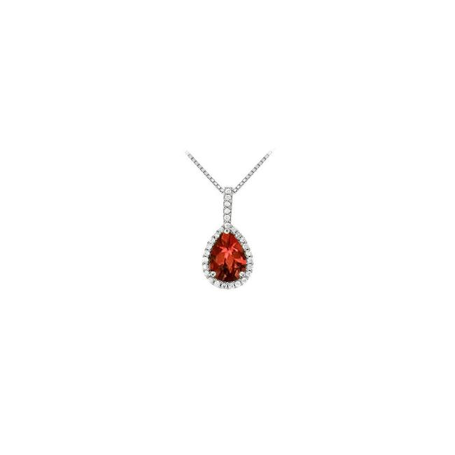 Red White Gold Fancy Teardrop Garnet and Cubic Zirconia Halo Pendant In 14k Necklace Red White Gold Fancy Teardrop Garnet and Cubic Zirconia Halo Pendant In 14k Necklace Image 1
