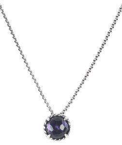 David Yurman Chatelaine Pendant Necklace with Black Orchid 8mm $350 NWOT