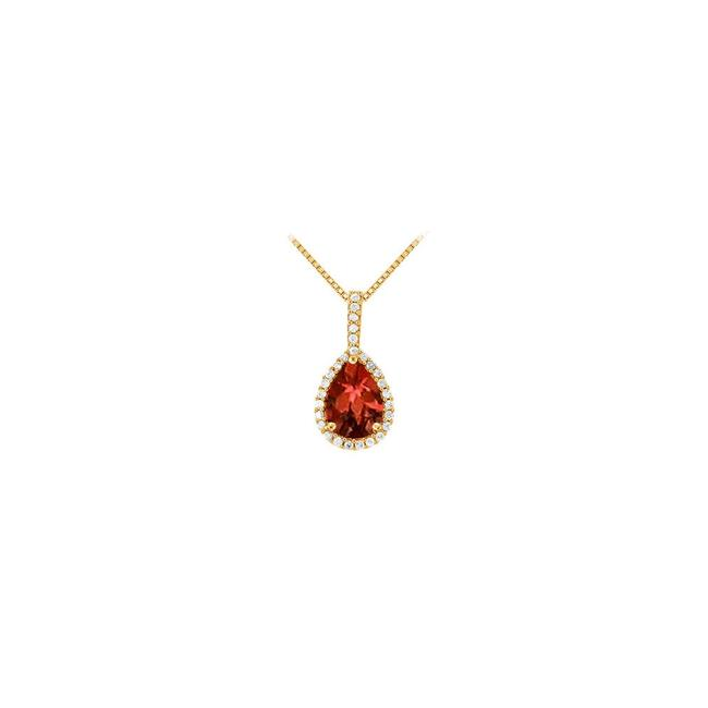 Red Yellow Gold Fancy Teardrop Garnet and Cubic Zirconia Halo Pendant In 14k Necklace Red Yellow Gold Fancy Teardrop Garnet and Cubic Zirconia Halo Pendant In 14k Necklace Image 1