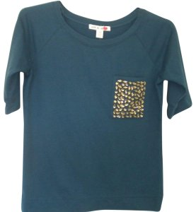 Love by Design Sleeve Embellished New T Shirt Teal