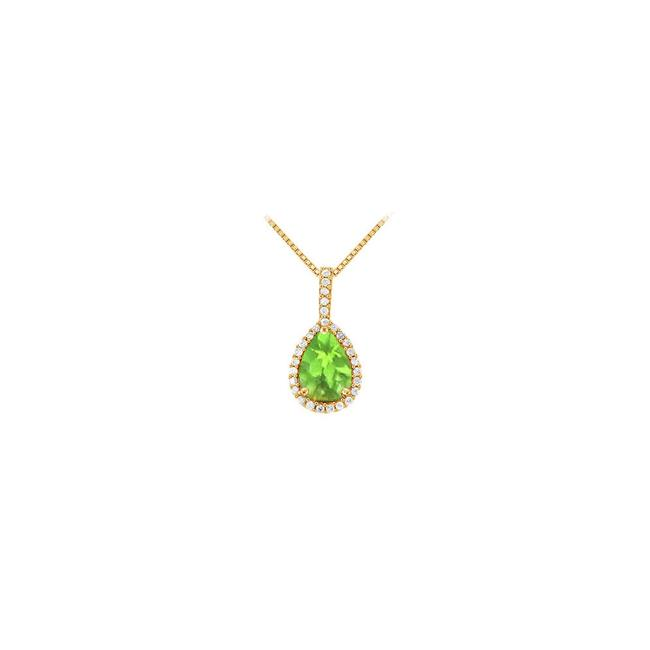 Green Yellow Gold Fancy Teardrop Peridot and Cubic Zirconia Halo Pendant In 14k Necklace Green Yellow Gold Fancy Teardrop Peridot and Cubic Zirconia Halo Pendant In 14k Necklace Image 1