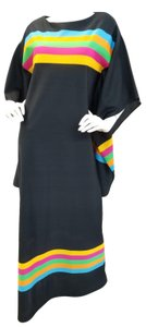 Black and Multi Maxi Dress by Beverly Vogue Tunic Vintage Long