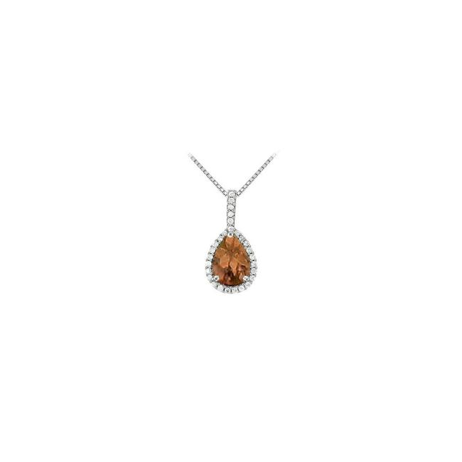 Brown White Gold Fancy Teardrop Smoky Quartz and Cubic Zirconia Halo Pendant In 14k Whi Necklace Brown White Gold Fancy Teardrop Smoky Quartz and Cubic Zirconia Halo Pendant In 14k Whi Necklace Image 1