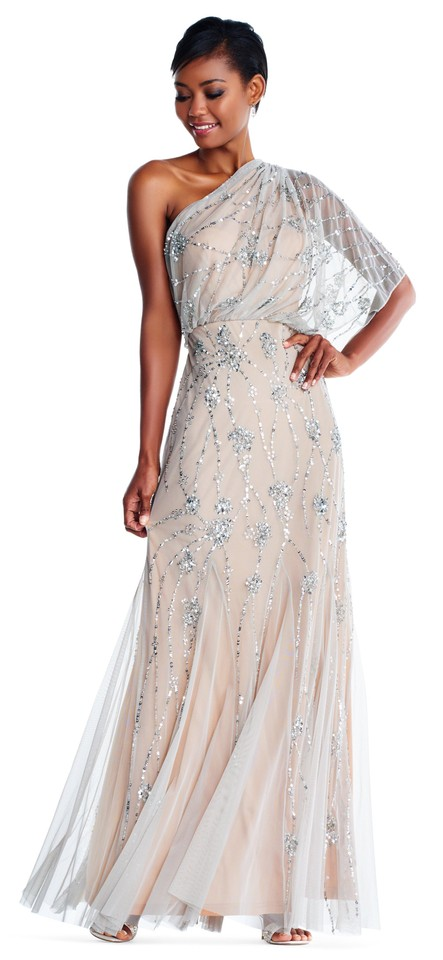 Adrianna Papell Silver/Nude Silver/Nude One Shoulder Beaded Gown ...