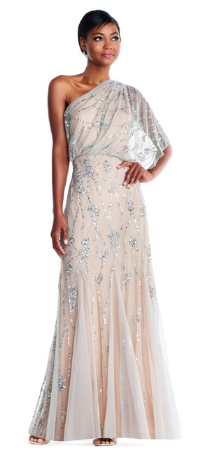 Adrianna Papell Beaded Sequin Embellished One Shoulder Dress