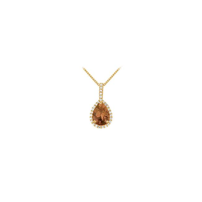 Brown Yellow Gold Fancy Teardrop Smoky Quartz and Cubic Zirconia Halo Pendant In 14k Yel Necklace Brown Yellow Gold Fancy Teardrop Smoky Quartz and Cubic Zirconia Halo Pendant In 14k Yel Necklace Image 1