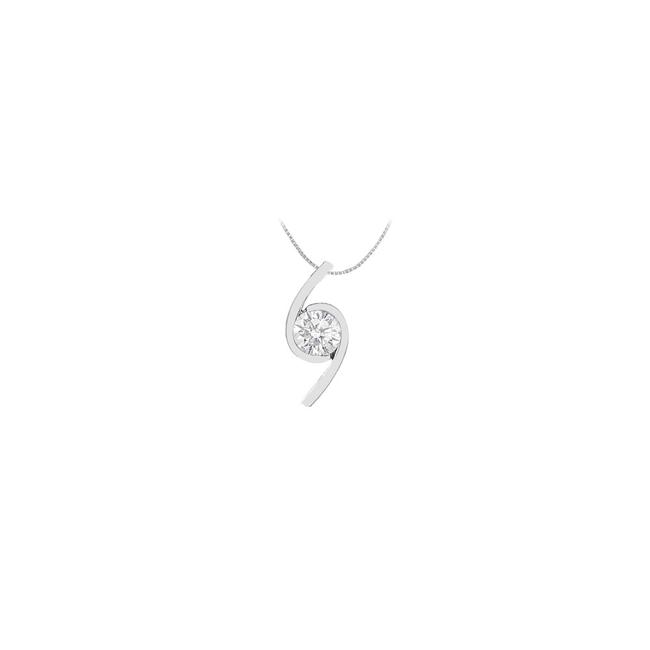 White Finished 14k Gold Pendant with Cubic Zirconia 2.00 Carat Tgw Necklace White Finished 14k Gold Pendant with Cubic Zirconia 2.00 Carat Tgw Necklace Image 1
