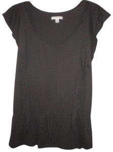 American Eagle Outfitters Ruffle Trim Short Sleeve Drop Waist Top Charcoal