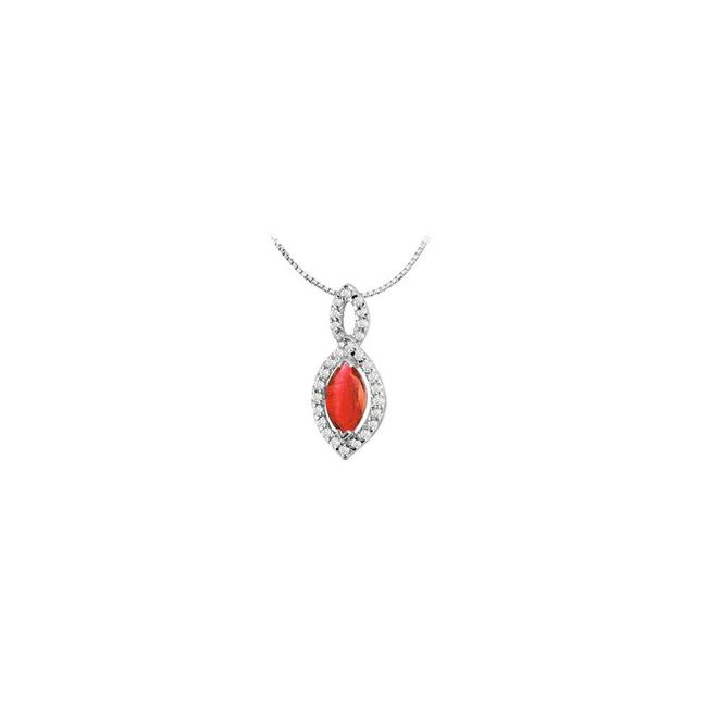 Red White Gold Gf Bangkok Ruby Marquise Cut and Cz Pendant In 14k 1.30 Car Necklace Red White Gold Gf Bangkok Ruby Marquise Cut and Cz Pendant In 14k 1.30 Car Necklace Image 1