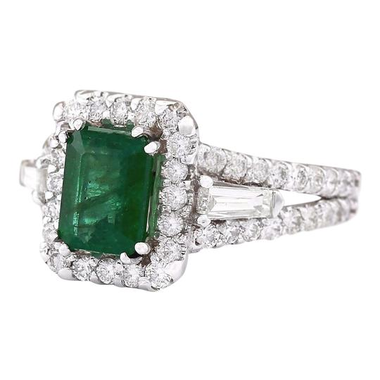 Fashion Strada 3.30 CTW Natural Emerald And Diamond Ring In 14k White Gold