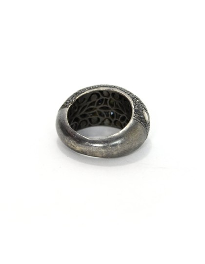 unknown Sterling Ring with Black & Rose Cut Diamonds Sz 7.5