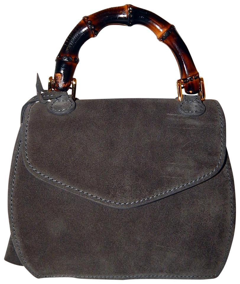 458eba4cd528 Small Bamboo Purse Italy Gray Suede Leather Satchel - Tradesy