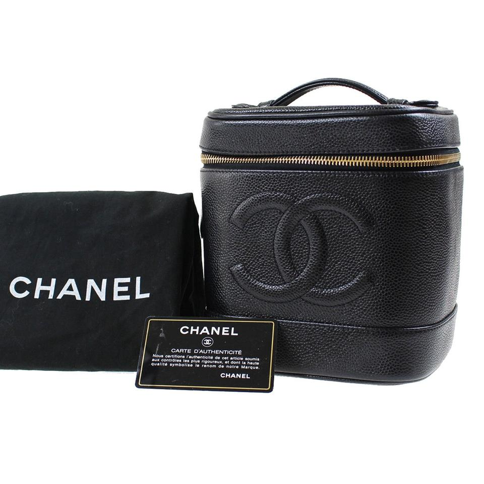50a5e79f3fbe Chanel CHANEL CC Vanity Cosmetic Bag Caviar Skin Black Leather Vintage  Image 0 ...