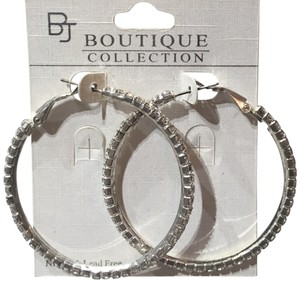 Boutique Collection Medium Size Rhinestone Hoop Earrings