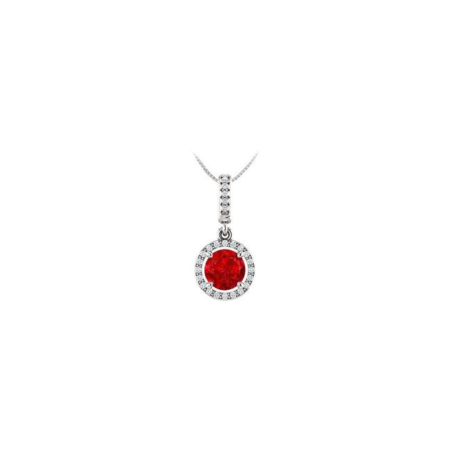 Red White Gold July Birthstone Ruby and Cz Halo Gemstone Pendant 14k 1.25 Necklace Red White Gold July Birthstone Ruby and Cz Halo Gemstone Pendant 14k 1.25 Necklace Image 1
