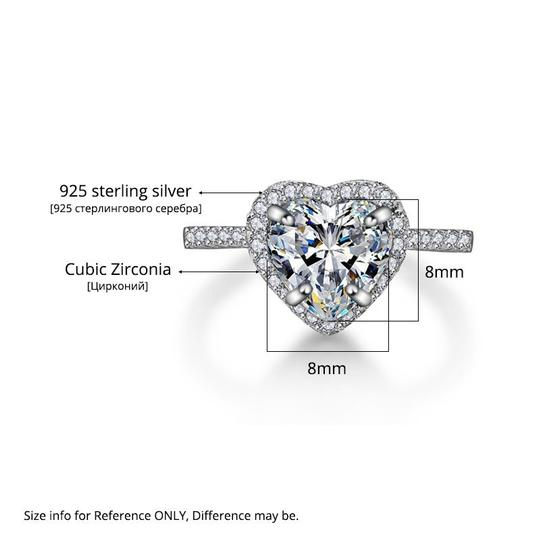 Other Heart Rings For Women S925 Silver Sterling Romantic Bridal Wedding