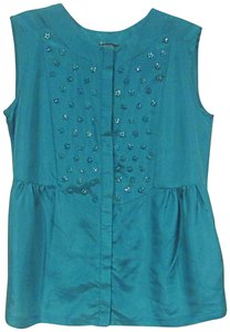 Max Mara Embellished Top Turquoise, Green, Blue