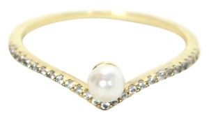 Vita Fede Vita Fede Ultra Mini 5mm White Akoya Pearl & Crystal Ring Sz 8