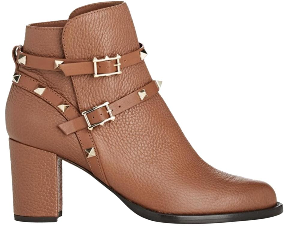 Valentino Brown Strap New Rockstud Double Strap Brown City Leather Boots/Booties 625d99
