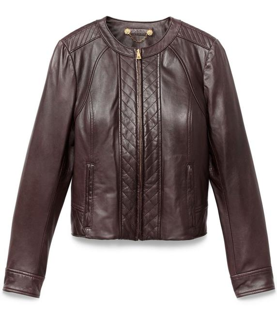 Tory Burch Lambskin Cropped Brown Leather Jacket