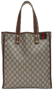 Gucci Gg Monogram Web Brown Tote in Beige