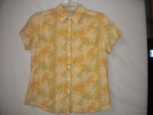 Sutter Hill Embroidered Floral Short Sleeve Button Front Button Down Shirt Multi-Color