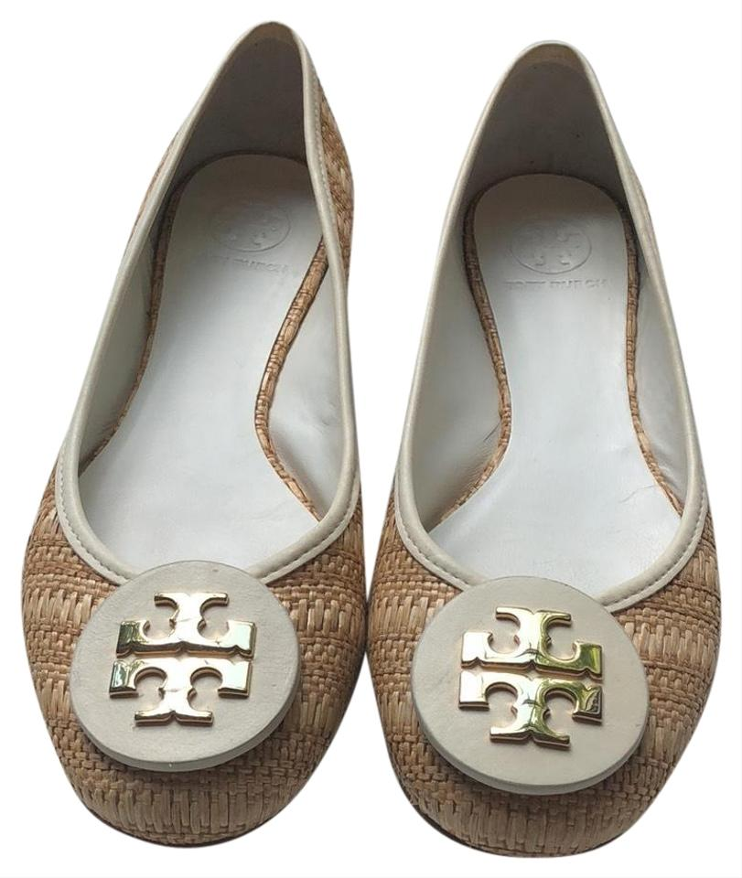 31a6782a4e0 Tory Burch White  Natural Leather Straw Raffia Big Gold Reva Ballet Flats