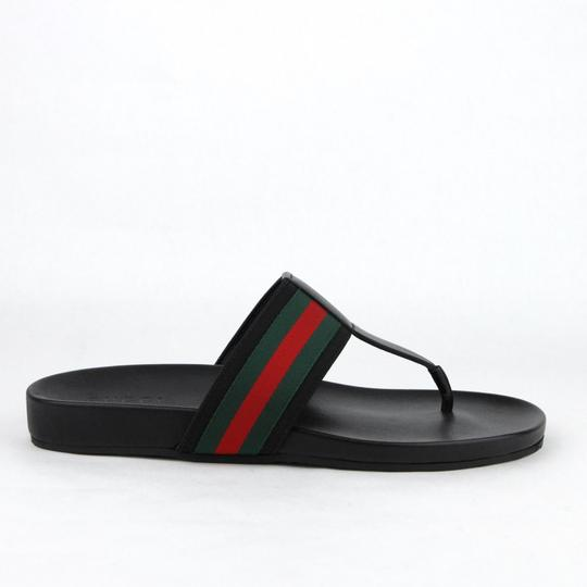 Gucci Black Leather Thong Sandals with Grg Web Detail 10g/Us 10.5 386768 1069 Shoes