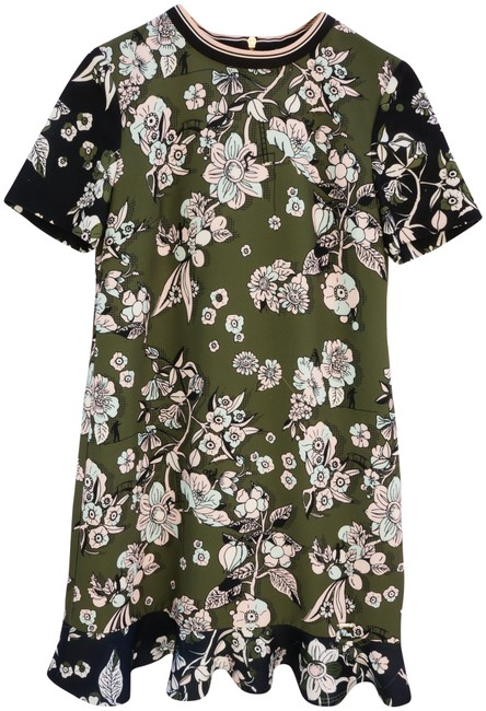 Preload https://img-static.tradesy.com/item/23393115/ted-baker-green-col-floral-mid-length-short-casual-dress-size-4-s-0-1-650-650.jpg