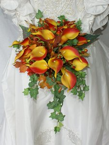 Autumn Silk Calla Lily Bridal Bridesmaid Bouquet - item med img