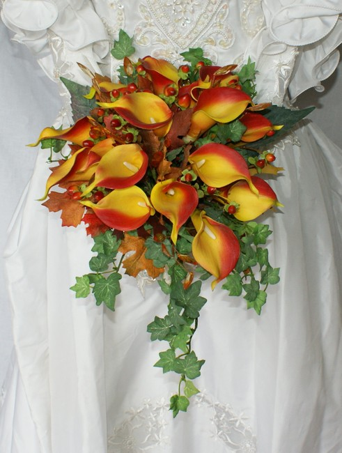 Autumn Silk Calla Lily Bridal Bridesmaid Bouquet Autumn Silk Calla Lily Bridal Bridesmaid Bouquet Image 1