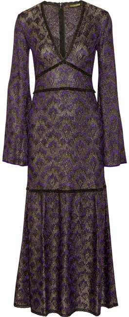 Preload https://img-static.tradesy.com/item/23393149/roberto-cavalli-purple-lace-trimed-metallic-crochet-knit-maxi-long-formal-dress-size-10-m-0-1-650-650.jpg