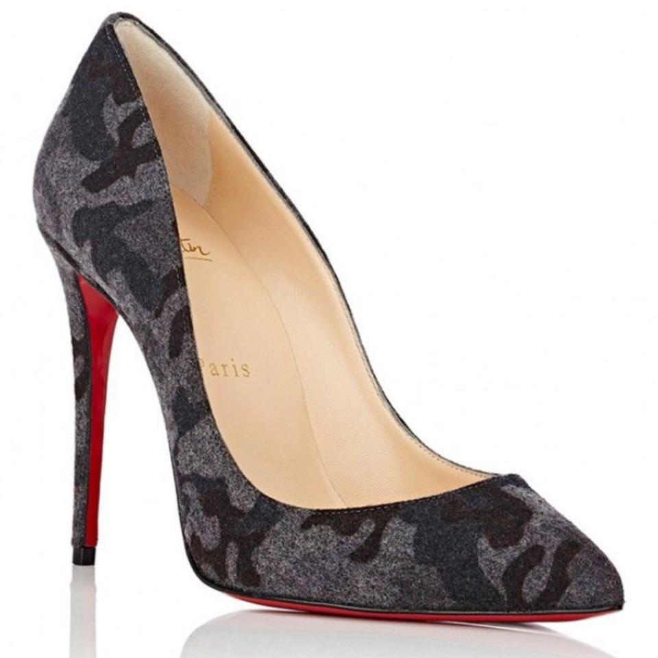 ecc0c35effd Christian Louboutin Gray Pigalle Follies Fusain Flannel Camouflage Stiletto  Pumps