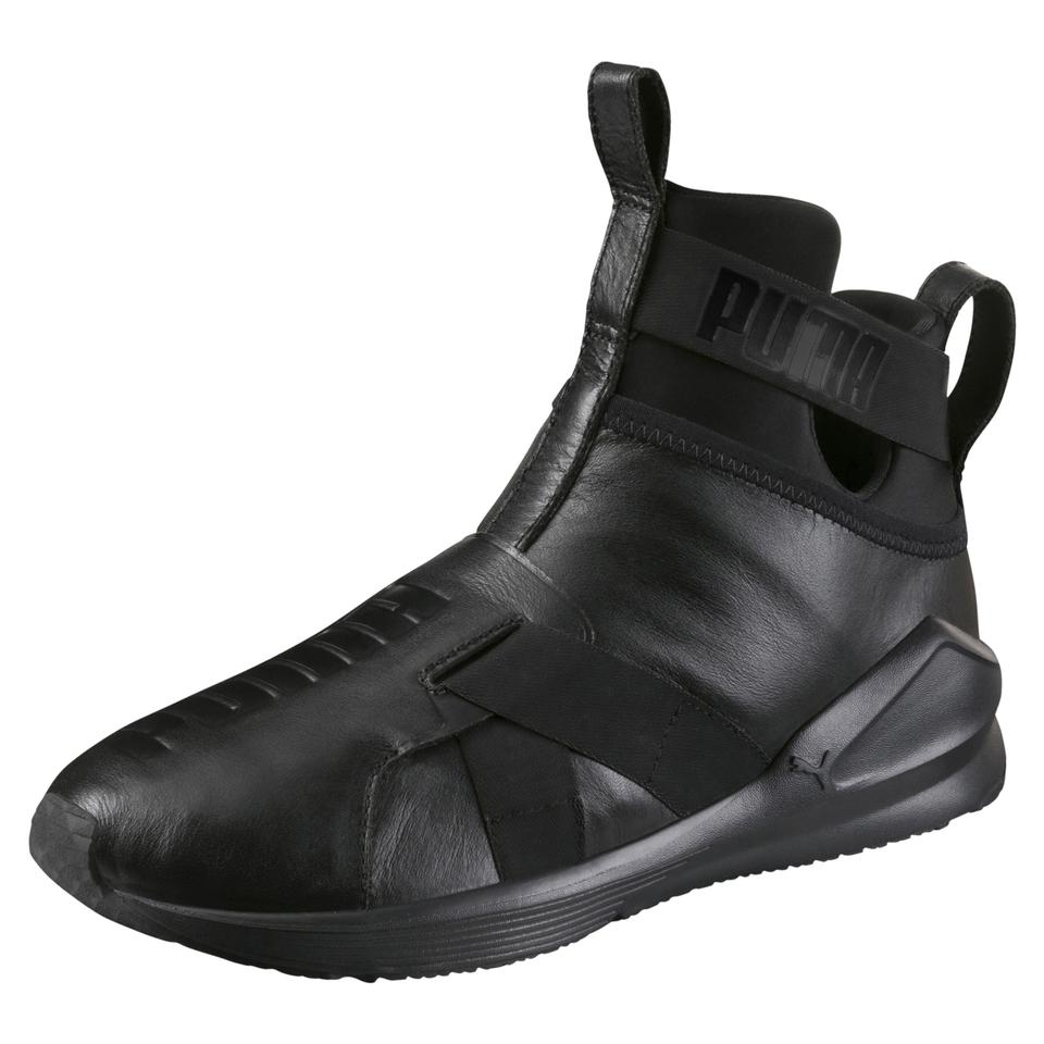 Puma Black Fierce By Rihanna Leather Strap High Top Slip On Sneakers ... 08a753aeaef1