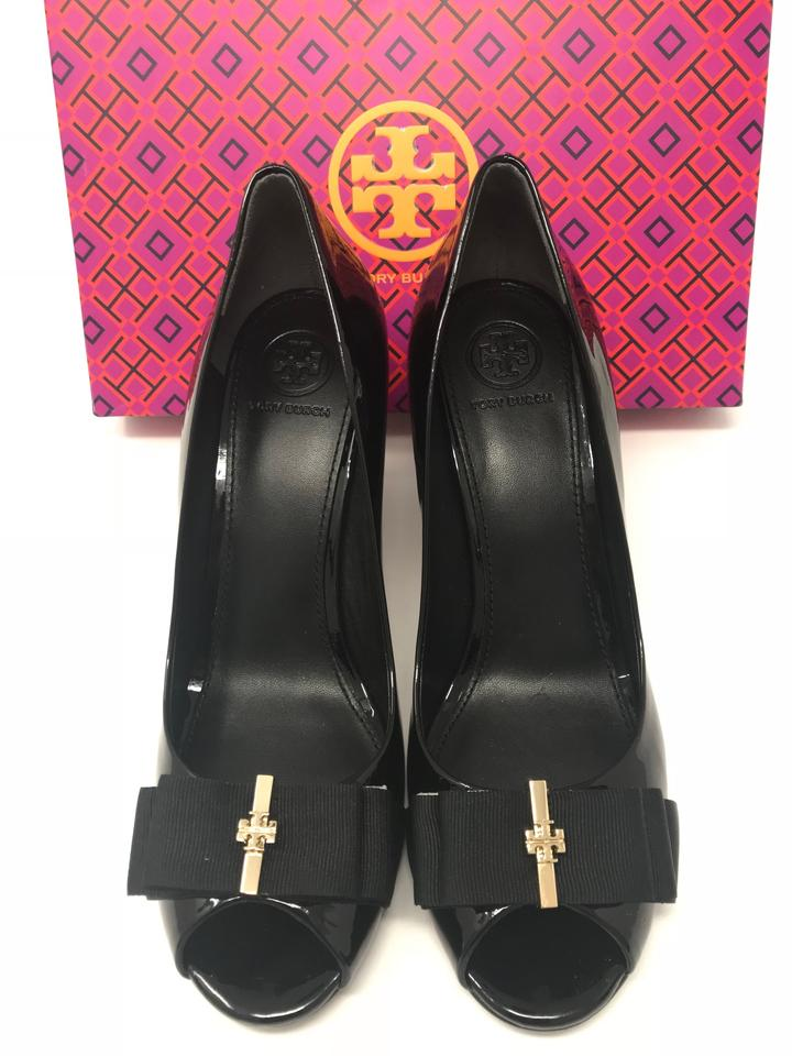 1d196a880631 Tory Burch Black Trudy 85mm Peep Toe Patent Leather Wedges Size US 8 ...