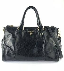 Prada Double Zip Vitello Shine Leather Satchel in Black