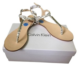 Calvin Klein Collection White With Grey Stripes Sandals