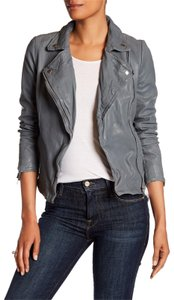 Muubaa Moto Grey Leather Jacket