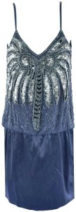 Guess By Marciano Beaded 20s Flapper Silk Dress