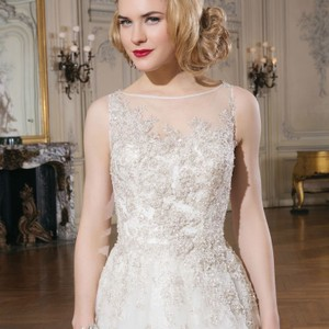 Justin Alexander Champagne/Coffee Tulle and Beads 8726 Formal Wedding Dress Size 10 (M)