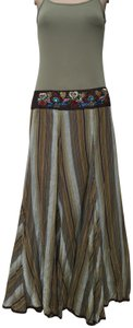 Grace Elements Boho Beaded Maxi Skirt Green brown stipped
