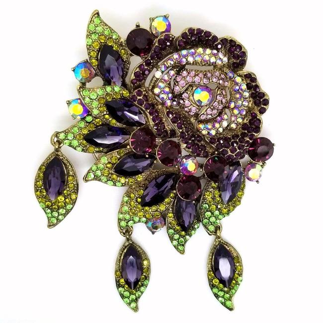 Item - Purple Green Pink Antique Bronze Dazzling Crystal Rose Drop Dangle Brooch Pendant