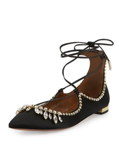 Aquazzura Crystal Black Flats