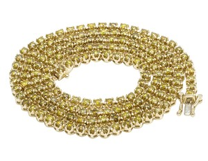 Jewelry Unlimited 10K Yellow Gold Real Diamond Canary Tennis Chain Necklace 7.5 CT 22""