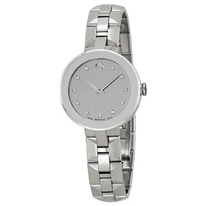 Movado Silver Mirror Sapphire Dial SS Ladies Watch