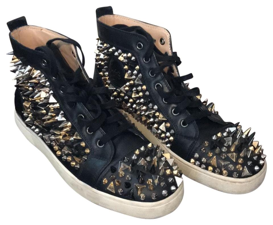 9e7e5ff76acc Christian Louboutin Black with Gold Black   Silver Spikes Pik Pik Sneakers