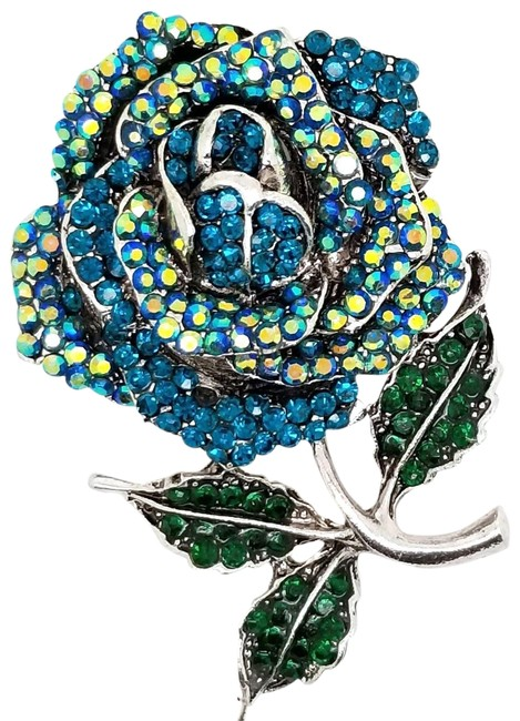 Item - Blue Green Silver-tone Round Crystal Rose Pin Brooch Pendant